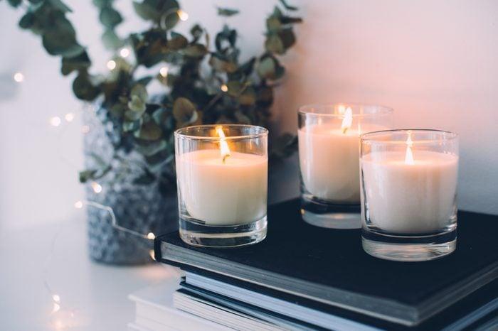 Cozy home interior decor, burning candles