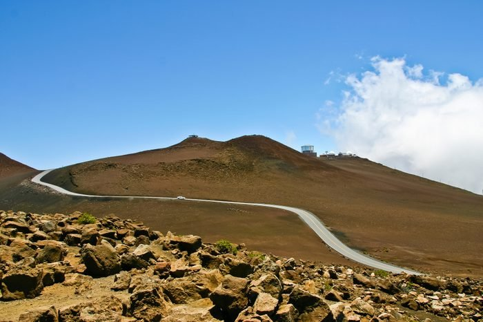 winding road to summit visitor center and observatory in halaekala national park maui hawaii