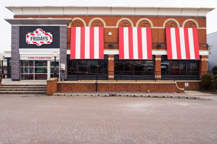 TGI Fridays exterior and logo. TGI Friday's is an American restaurant chain focusing on casual dining.