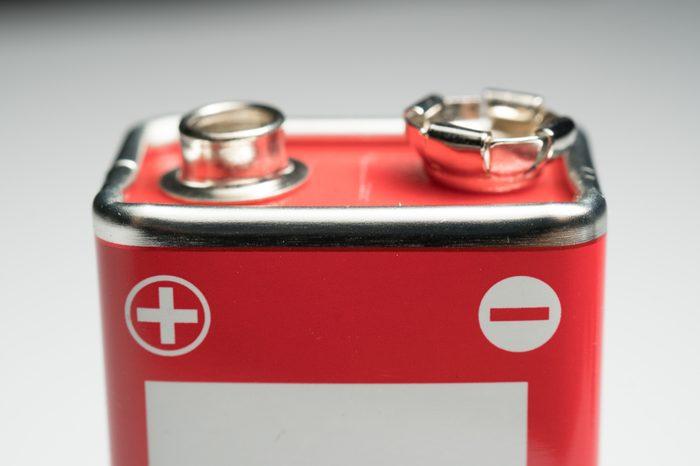 9 Volt battery regtangle closeup shot