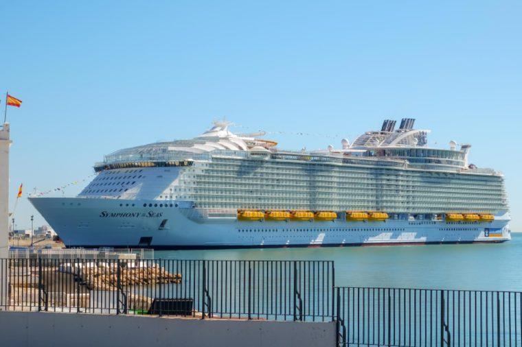 Malaga, Spain - March 27, 2018. Luxury cruise ship Symphony of the seas anchored in the harbor of Malaga