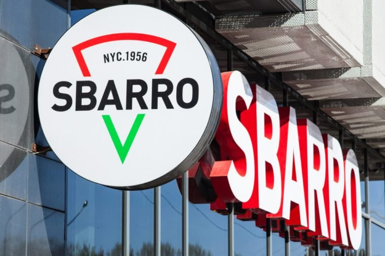 Signboard Sbarro on the building. Sbarro is a chain of pizza restaurants that specializes in Italian-American cuisine