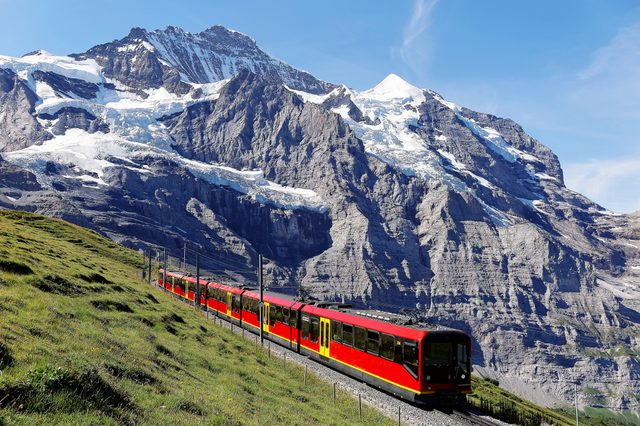 A sightseeing train travels on the famous Jungfrau Railway from Jungfraujoch (Top of Europe) to Kleine Scheidegg by a green grassy hillside on a sunny summer day, in Bernese Oberland, Switzerland