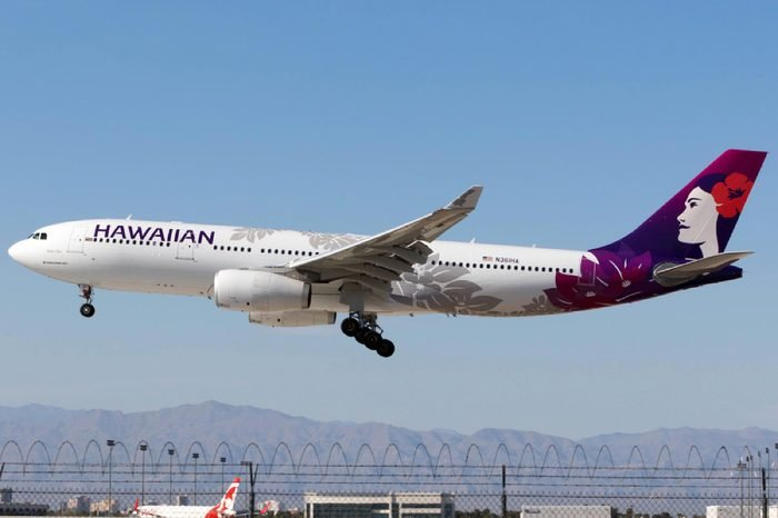 Las Vegas, Nevada- April 4th: Hawaiian Airlines Airbus A330-243 reg. N361HA arriving at McCarran International Airport from Honolulu on April 4th 2018.