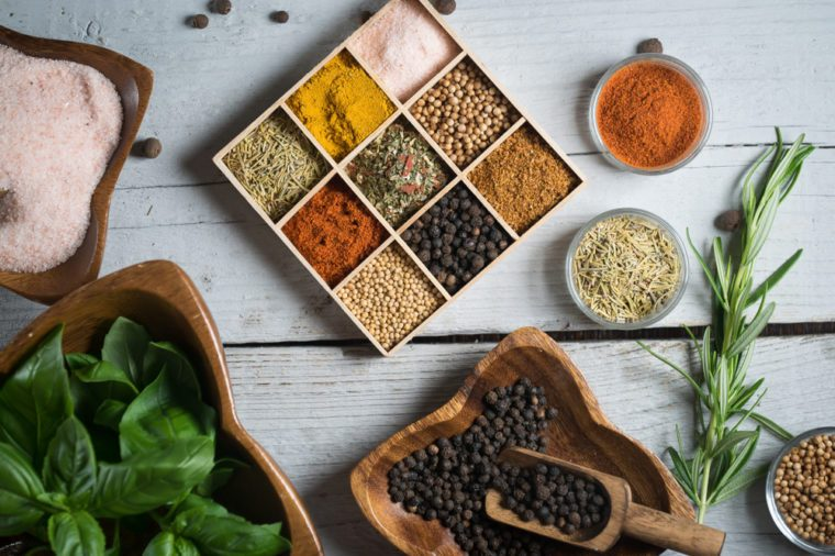 Spices and herbs. Variety of spices