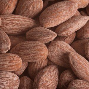 Almonds close up background