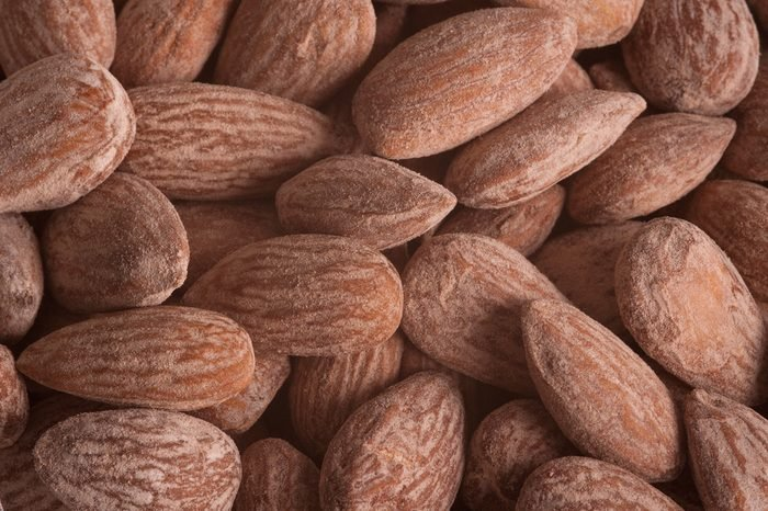 Almonds close up background