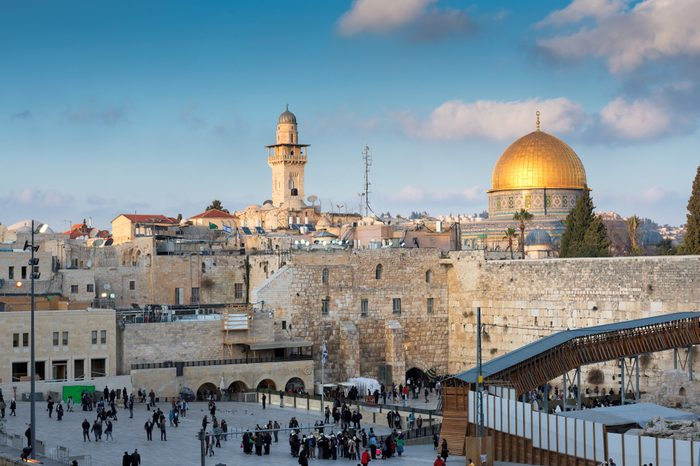 Western Wall and golden Dome of the Rock in Jerusalem Old City, Israel.