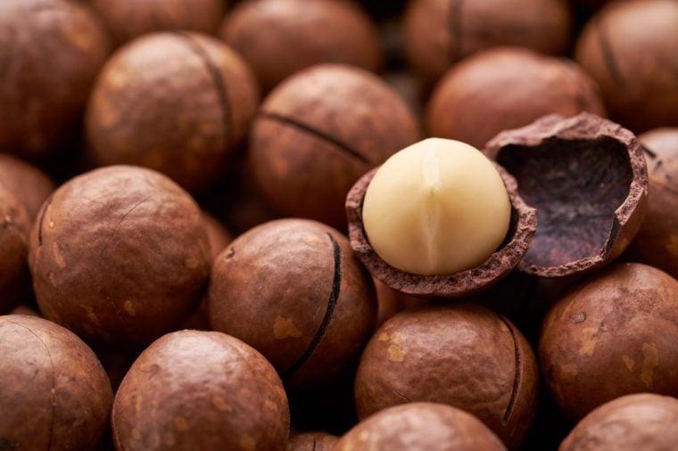 Cracked Macadamia nut, selective focus.