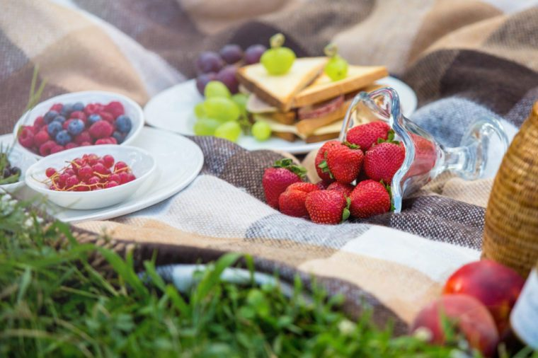 summer picnic - fresh strawberries, berries, sandwiches on a plaid