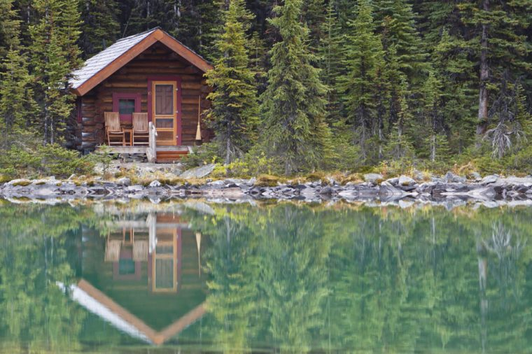 A Single Cabin on a Still Lake in the Wilderness, An ideal getaway spot