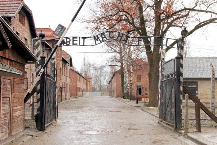 Gates to Auschwitz Birkenau Concentration Camp, Poland