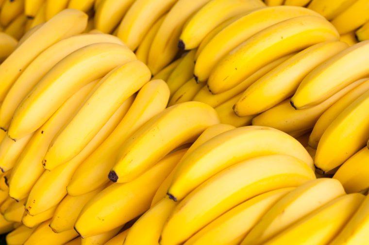 Close up view of fresh bananas.