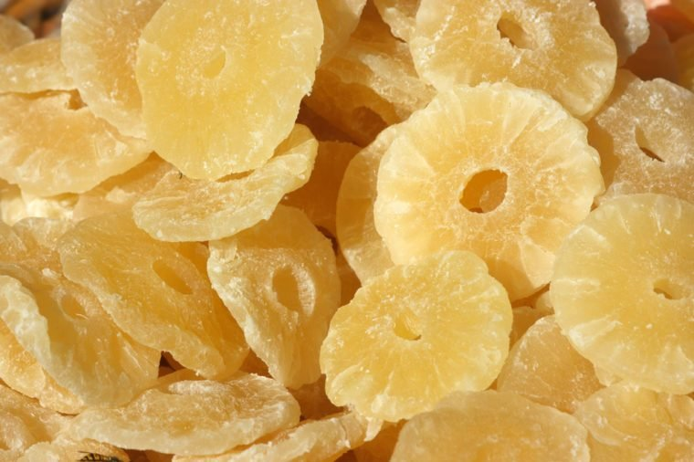 Dried ananas slices on a market