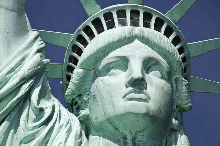 Detail of the Statue of Liberty on Liberty Island at New York City.