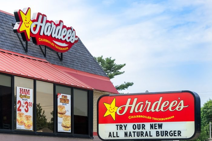 Hardee's restaurant exterior and sign. Hardee's Food Systems, Inc., is an American fast-food restaurant chain.