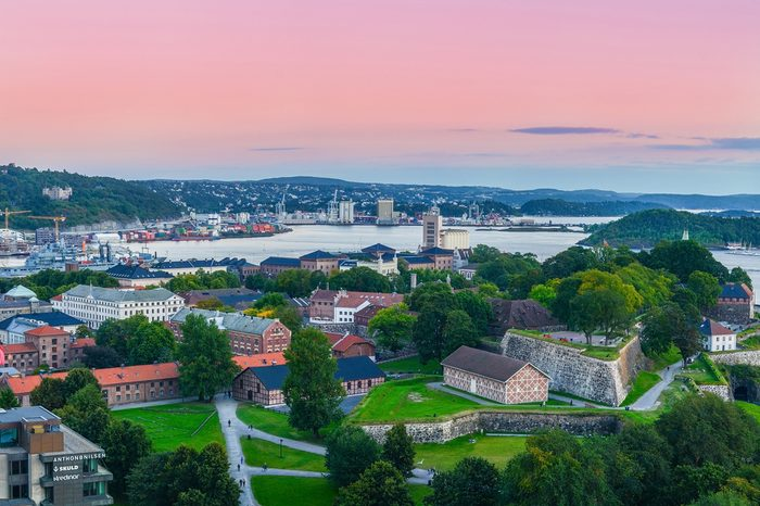 Oslo, Norway. A view at Oslofjord and Akershus fortress from the top of City hall (Radhuset) tower. Taken on 2015/09/11