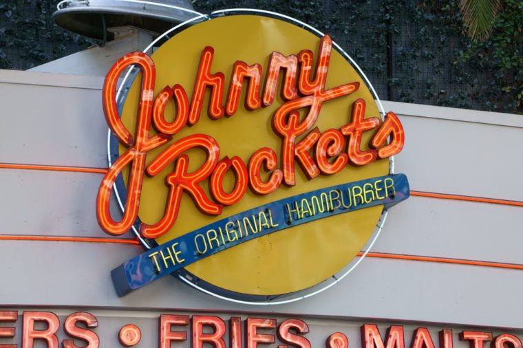 Johnny Rockets restaurant exterior and sign. Johnny Rockets is an American restaurant franchise.