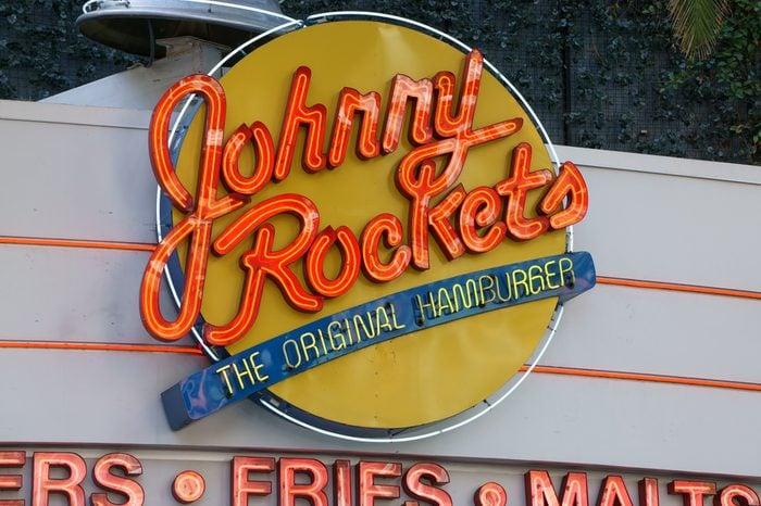 Johnny Rockets restaurant exterior and sign. Johnny Rockets is an American restaurant franchise.