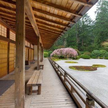 Pavilion by Flat Sand Landscape in Springtime at the Japanese Garden