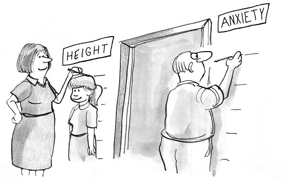 Family cartoon about how parental anxiety increases as children get older.