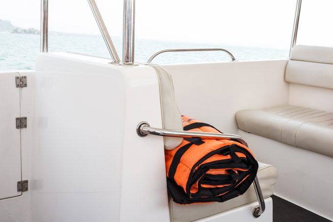 Life-jacket in speed boat.