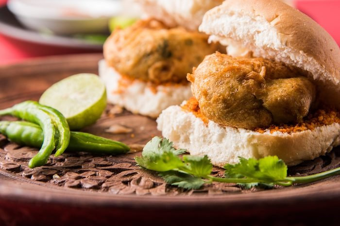 Vada Pav OR Wada Pao is Indian OR Desi Burger, is a roadside fast food dish from Maharashtra. Selective focus