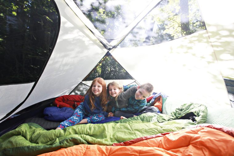 A Bright Shot of Kids Camping Outdoors in a Tent
