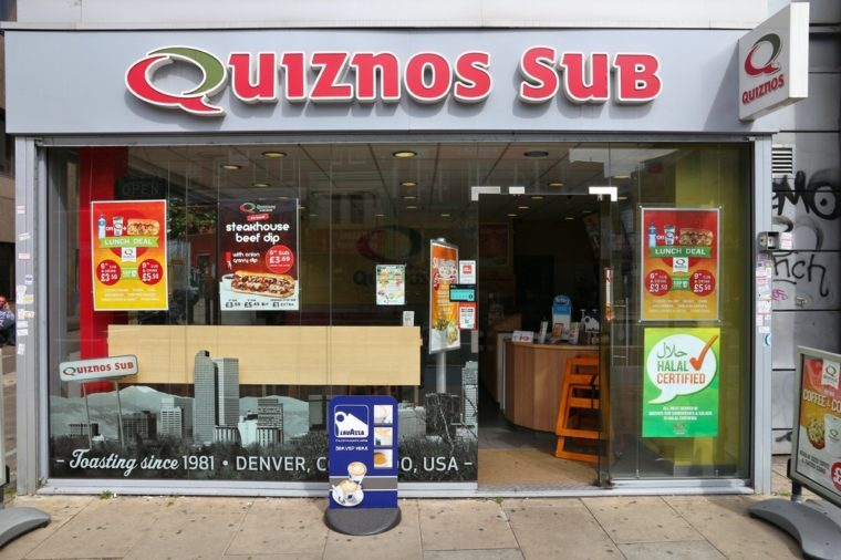 Quiznos Sub fast food restaurant in London. Quiznos is a sandwich shop franchise with 1,500 U.S. shops and 600 international locations.