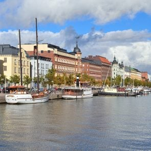 Helsinki, Finland. Very beautiful North Quay in a sunny autumn day