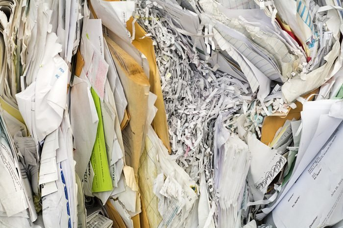 background of paper textures piled ready to recycle