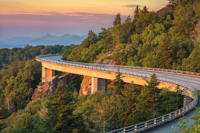 Morning light on the Lynn Cove Viaduct along the Blue Ridge Parkway in North Carolina