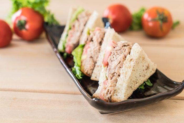 tuna sandwich on the table
