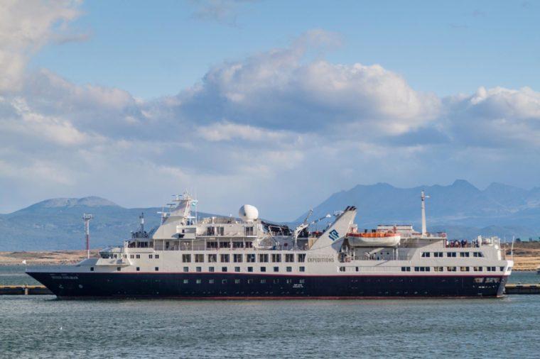 USHUAIA, ARGENTINA - MARCH 8, 2015: Silversea Expeditions ship in a port of Ushuaia, Tierra del Fuego island, Argentina