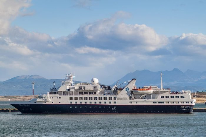 USHUAIA, ARGENTINA - MARCH 8, 2015: Silversea Expeditions ship in a port of Ushuaia, Tierra del Fuego island, Argentina
