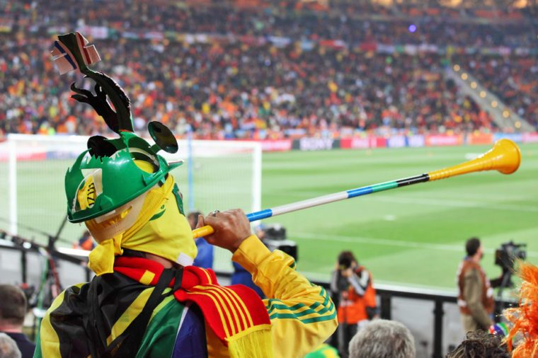JOHANNESBURG - JULY 11 : Final at Soccer City Stadium: Spain vs. Netherlands on July 11, 2010 in Johannesburg. Spanish supporter with vuvuzela