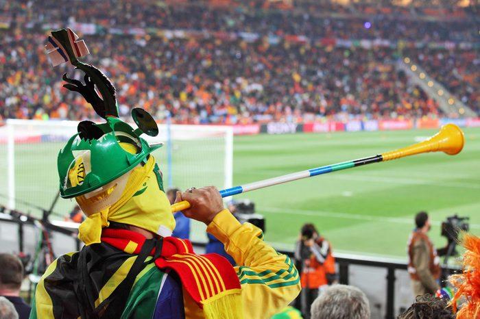 JOHANNESBURG - JULY 11 : Final at Soccer City Stadium: Spain vs. Netherlands on July 11, 2010 in Johannesburg. Spanish supporter with vuvuzela