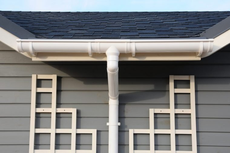 Rain Gutter System and Bitumen Roof Shingles.