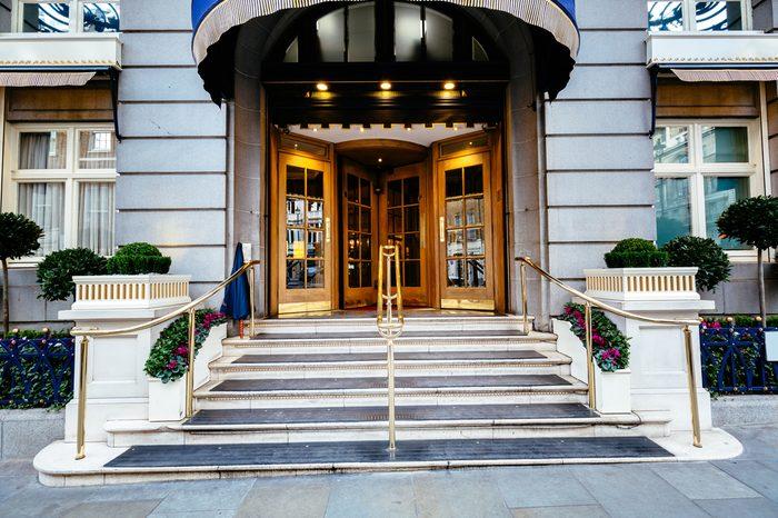 Luxury five star hotel entrance door, most expensive hotel in london uk