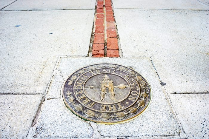 Freedom Trail end at Bunker Hill Monument. Located in Boston, Massachusetts, USA.