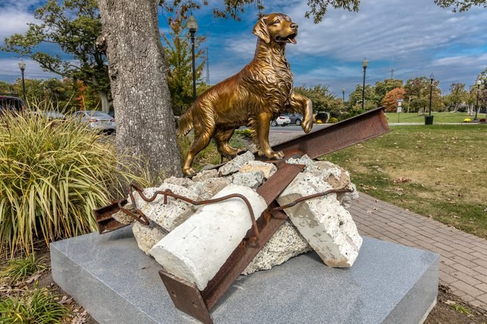 """9/11 Memorial Eagle Rock Reservation in West Orange, New Jersey - portrays """"Search and Rescue Dogs"""" contribution to 9/11 rescue"""