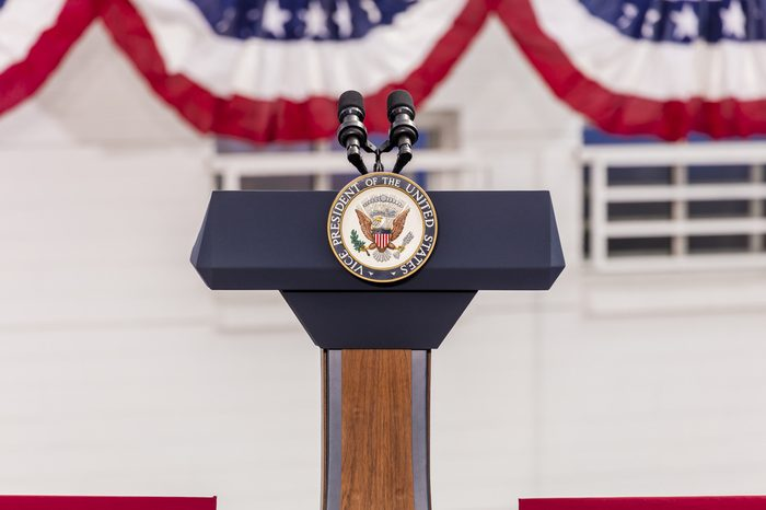 Vice Presidential Seal and Empty Podium, awaiting Vice President Joe Biden Speech, Culinary Union, Las Vegas, Nevada