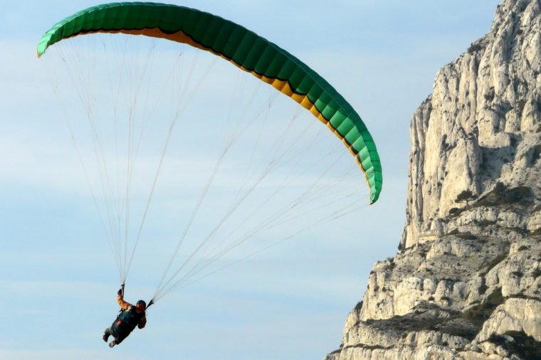 Paragliding over the Sainte Victoire mountain, near Aix en Provence, in the south of France
