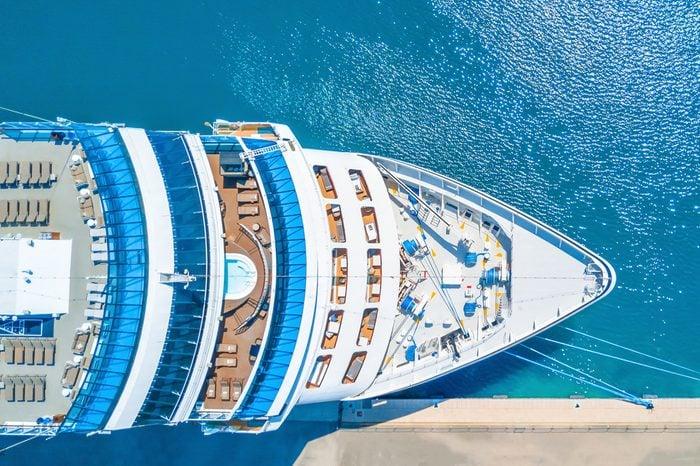 Nose of the cruise ship near the pier