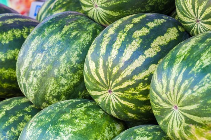 Watermelons in the farmer's shop