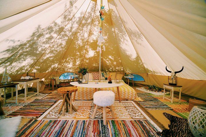 Glamping inside Tent