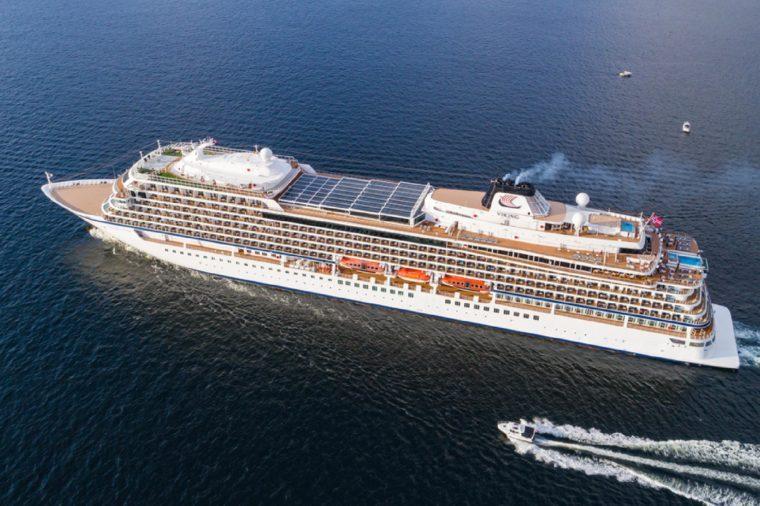 Cruise ship Viking Star leaving Bergen harbor.