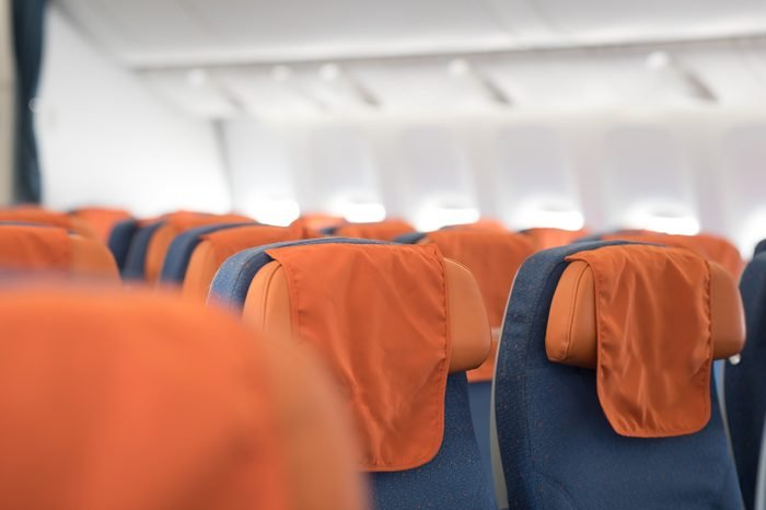 Airplane seats in the cabin economy class.