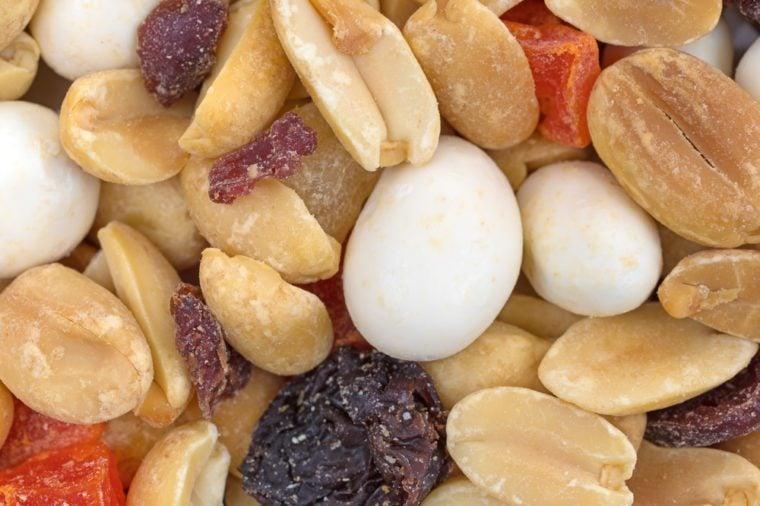 A very close view of yogurt covered raisin trail mix.