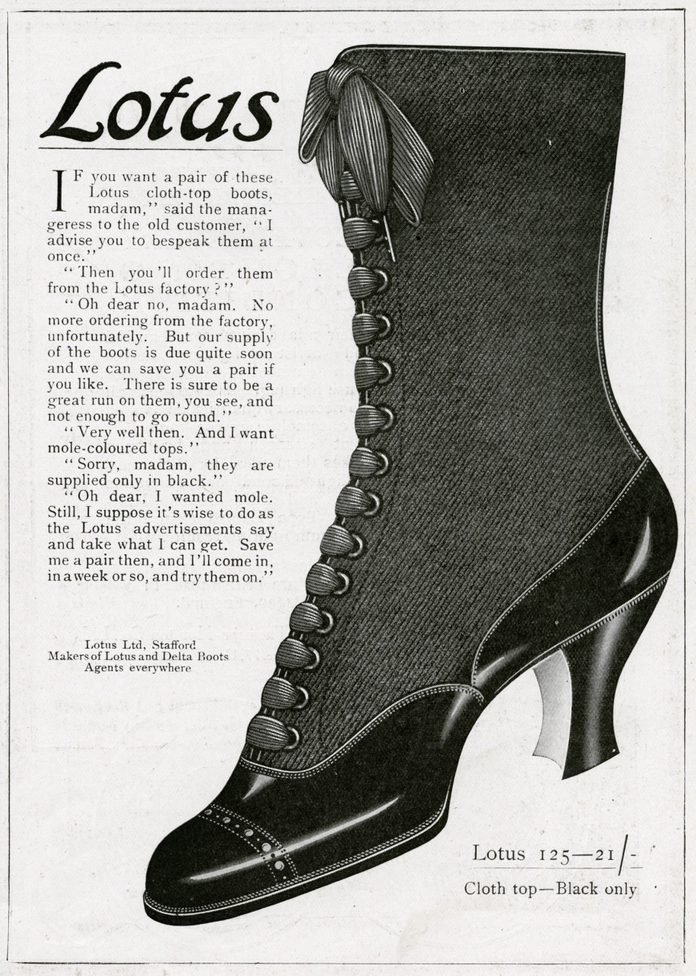 Lotus Delta Boots with Lace-ups and Cloth Tops 1916